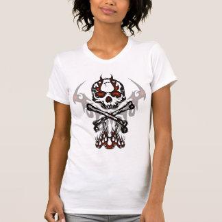 Crâne avec la chemise de flammes t-shirts
