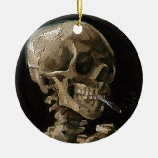 Crâne avec l'art brûlant de Vincent van Gogh de Ornement Rond En Céramique