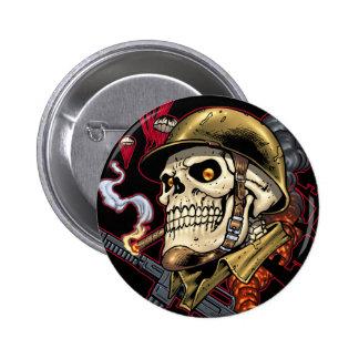 Crâne avec le casque, les avions et les bombes badges