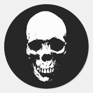 Crâne blanc de faucheuse sticker rond