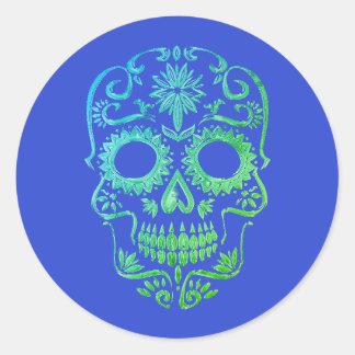 Crâne bleu et vert de sucre/jour des autocollants