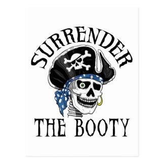 Crâne borgne et os croisés de pirate carte postale