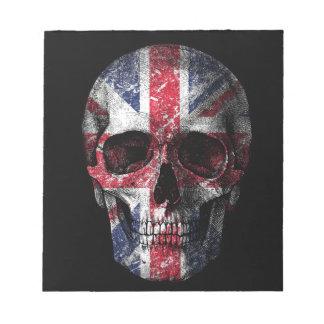 Crâne BRITANNIQUE de drapeau Blocs Notes