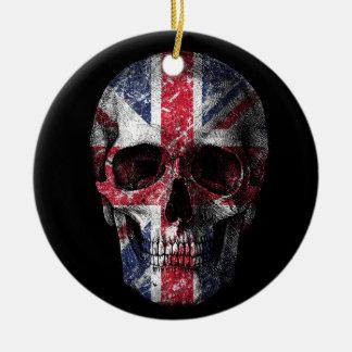 Crâne BRITANNIQUE de drapeau Ornement Rond En Céramique