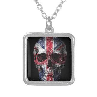 Crâne BRITANNIQUE de drapeau Pendentif Carré