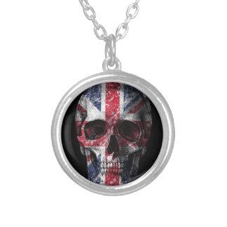 Crâne BRITANNIQUE de drapeau Pendentif Rond