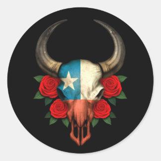Crâne chilien de Taureau de drapeau avec les roses Adhésifs Ronds