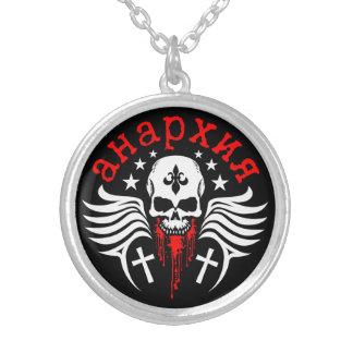 Crâne d'anarchie avec Fleur de Lis et croix Pendentif Rond