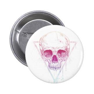 Crâne dans la triangle badge rond 5 cm
