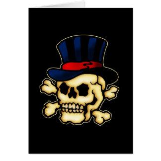 Crâne dans le casquette supérieur carte de vœux
