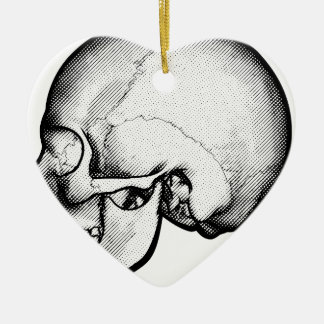 Crâne dans le dessin de profil ornement cœur en céramique