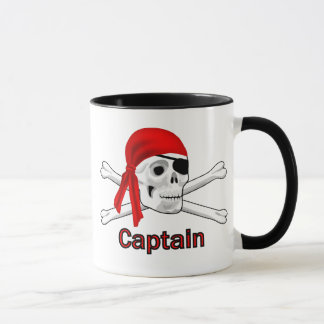 Crâne de capitaine Pirate et tasses d'os croisés