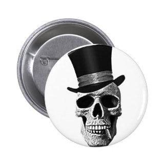 Crâne de chapeau supérieur badge rond 5 cm