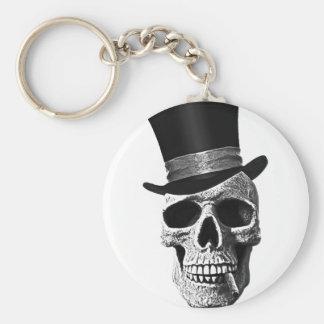 Crâne de chapeau supérieur porte-clé rond