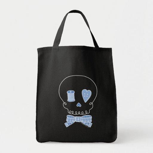 Crâne de couture (bleu - version foncée) sac en toile