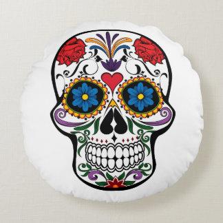 Crâne de Dia de Los Muertos Sugar Coussin Rond
