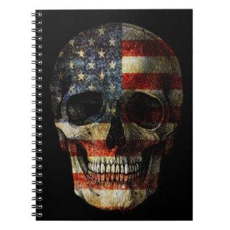 Crâne de drapeau américain carnet