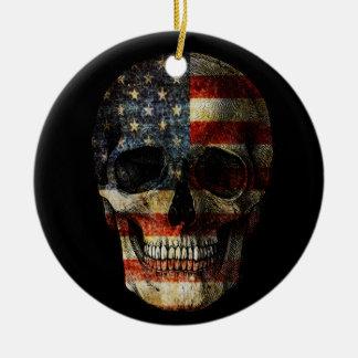 Crâne de drapeau américain ornement rond en céramique