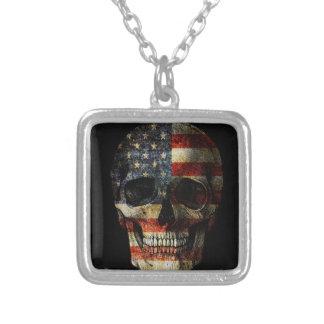 Crâne de drapeau américain pendentif carré