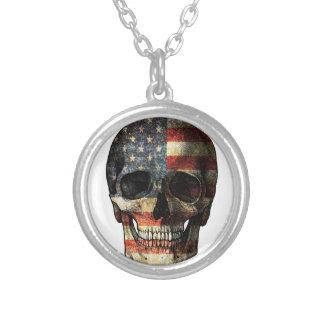 Crâne de drapeau américain pendentif rond