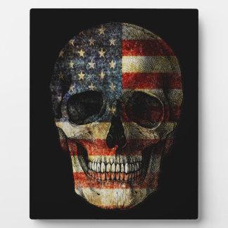 Crâne de drapeau américain plaque photo