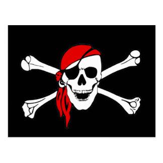 Crâne de drapeau de pirate et jolly roger d'os cartes postales