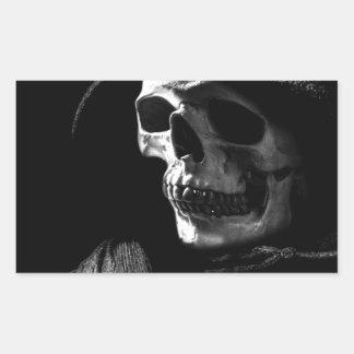 Crâne de faucheuse sticker en rectangle