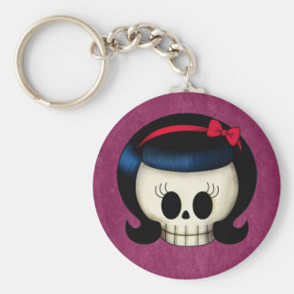 Crâne de fille de rockabilly porte-clés