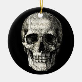 Crâne de journal ornement rond en céramique
