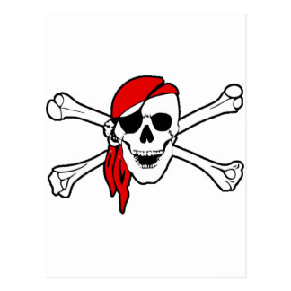 Crâne de pirate et carte postale d'os croisés