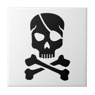 Crâne de pirate petit carreau carré