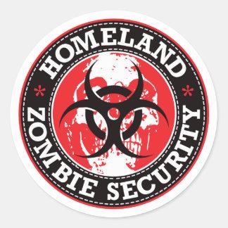 Crâne de sécurité de zombi de patrie - rouge sticker rond