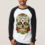 Crâne de sucre avec des roses t-shirt