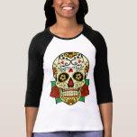 Crâne de sucre avec des roses t-shirts