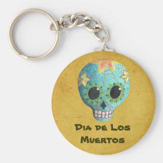 Crâne de sucre de Blue Dia de Los Muertos Art Porte-clé Rond