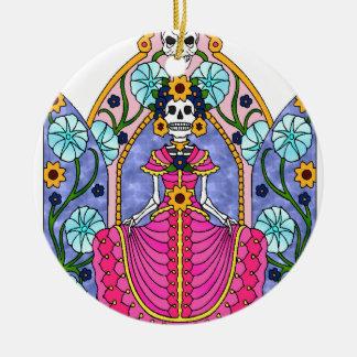 Crâne de sucre du best-seller ornement rond en céramique