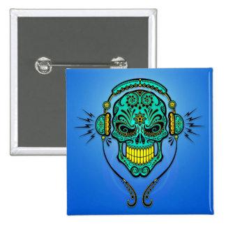 Crâne de sucre du DJ - bleu et jaune Badges
