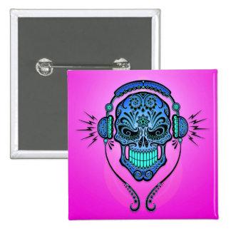 Crâne de sucre du DJ - bleu et pourpre Badge Avec Épingle