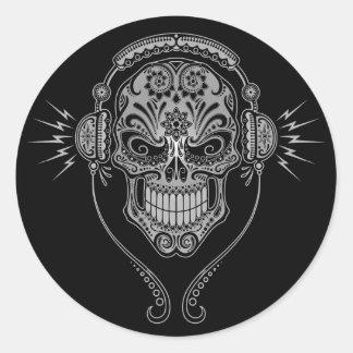 Crâne de sucre du DJ - noir Sticker Rond