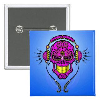 Crâne de sucre du DJ - pourpre et jaune Pin's Avec Agrafe