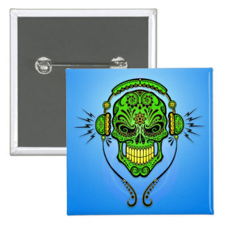 Crâne de sucre du DJ - vert et bleu Pin's