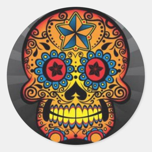 Crâne de tatouage autocollant rond