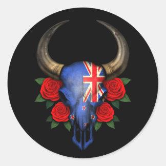 Crâne de Taureau de drapeau de la Nouvelle Zélande Adhésifs Ronds
