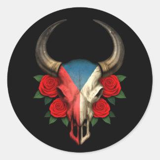 Crâne de Taureau de drapeau de République Tchèque Autocollant Rond