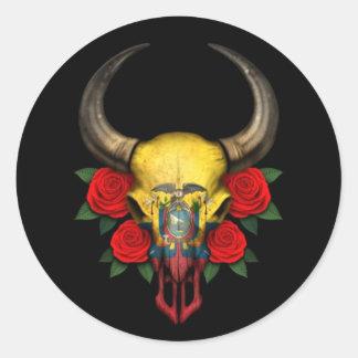 Crâne de Taureau de drapeau d'Ecuadorian avec les Autocollants Ronds