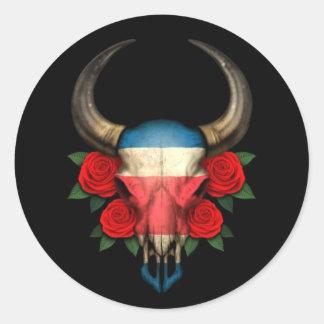 Crâne de Taureau de drapeau du Costa Rica avec les Adhésif Rond