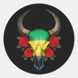 Crâne de Taureau de drapeau du Gabon avec les Adhésifs Ronds