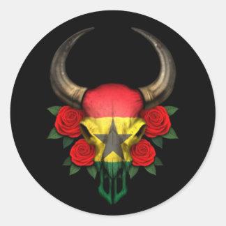 Crâne de Taureau de drapeau du Ghana avec les Adhésifs Ronds