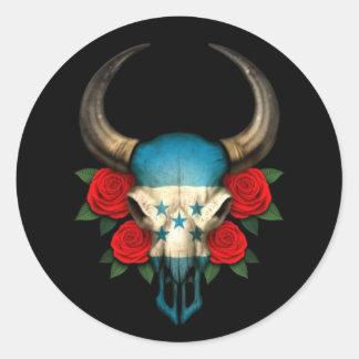 Crâne de Taureau de drapeau du Honduras avec les Adhésif Rond