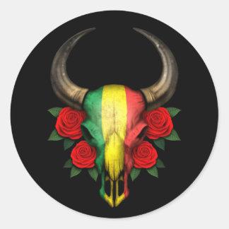 Crâne de Taureau de drapeau du Mali avec les roses Autocollants Ronds